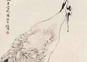 任伯年《鹤立鸡群图》立轴画欣赏