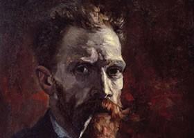 梵高《含着烟斗的自画像》布面油画欣赏