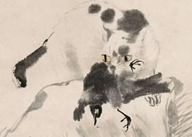 任伯年《猫鸟图》纸本设色画欣赏