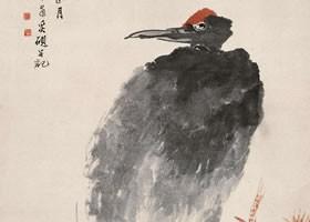 任伯年《红松仙鹤图》纸本设色画欣赏