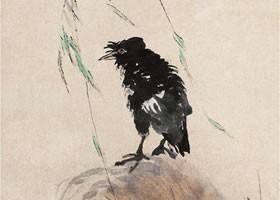 任伯年《柳塘浴禽图》纸本设色画欣赏