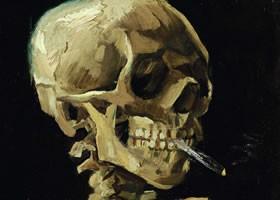 梵高《叼着点燃的香烟的骷髅头》布面油画欣赏