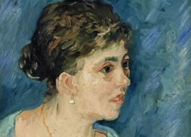 梵高《穿蓝衣服的女子》布面油画欣赏