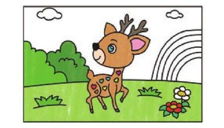 漂亮的梅花鹿简笔画上色步骤图示03