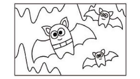 飞翔的蝙蝠简笔画涂色步骤图示01
