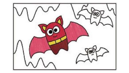 飞翔的蝙蝠简笔画涂色步骤图示02