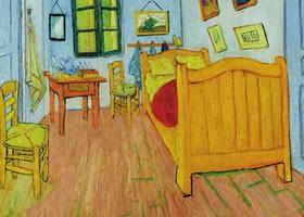 《梵高在阿尔的卧室》布面油画欣赏