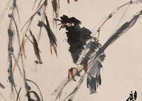 任伯年《杨柳八哥图》纸本设色画欣赏