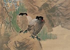 任伯年《紫藤双禽图》绢本设色画欣赏