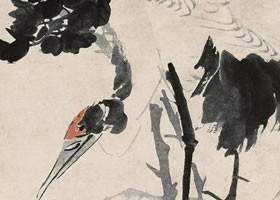 任伯年《牡丹仙鹤图》纸本设色画欣赏