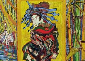 梵高《浮世绘仿作-花魁》面布油画欣赏