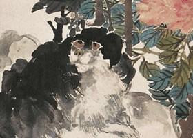 任伯年《富贵犬石图》纸本设色画欣赏