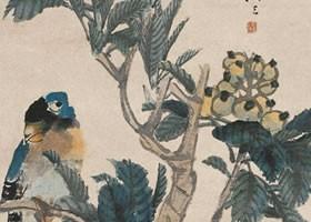 任伯年《鹦鹉枇杷图》纸本设色画欣赏