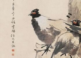 任伯年《水仙双禽图》纸本设色画欣赏
