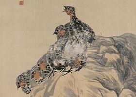 任伯年《桃石群鸟图》绢本设色画欣赏