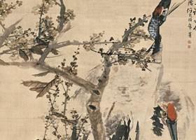 任伯年《桃石双鹤图》绢本设色画欣赏
