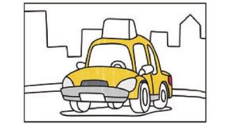 出租车简笔画涂色步骤图示02