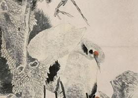 任伯年《松鹤延年图》纸本设色画欣赏