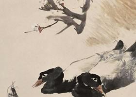 任伯年《桃花燕鸭图》纸本设色画欣赏