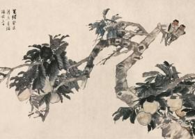 任伯年《桃实双燕图》纸本设色画欣赏