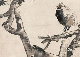 任伯年《桃实山禽图》纸本设色画欣赏