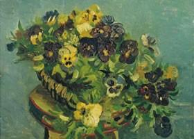梵高《三色堇花篮》面布油画欣赏