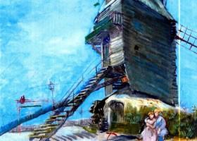 梵高《风车磨坊》面布油画欣赏