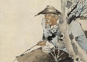 任伯年《春江渔父图》纸本设色画欣赏