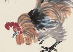齐白石《玉兰公鸡》纸本设色画欣赏