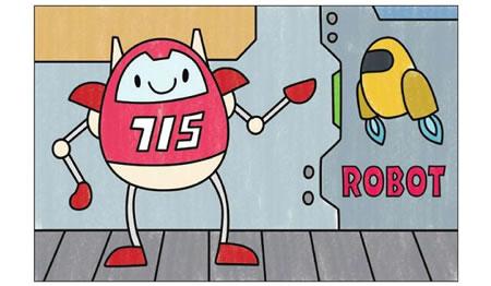 机器人简笔画涂色步骤图示04