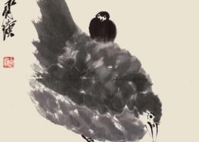 齐白石《母子鸡图》纸本笔墨画欣赏