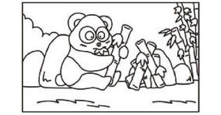 熊猫简笔画涂色步骤图示01