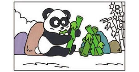 熊猫简笔画涂色步骤图示03