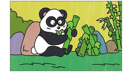 熊猫简笔画涂色步骤图示04