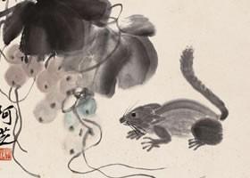 齐白石《葡萄松鼠》纸本设色画欣赏
