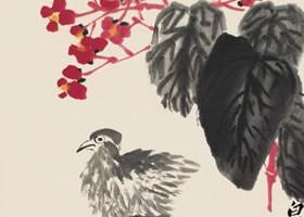 齐白石《海棠小鸡》纸本设色画欣赏