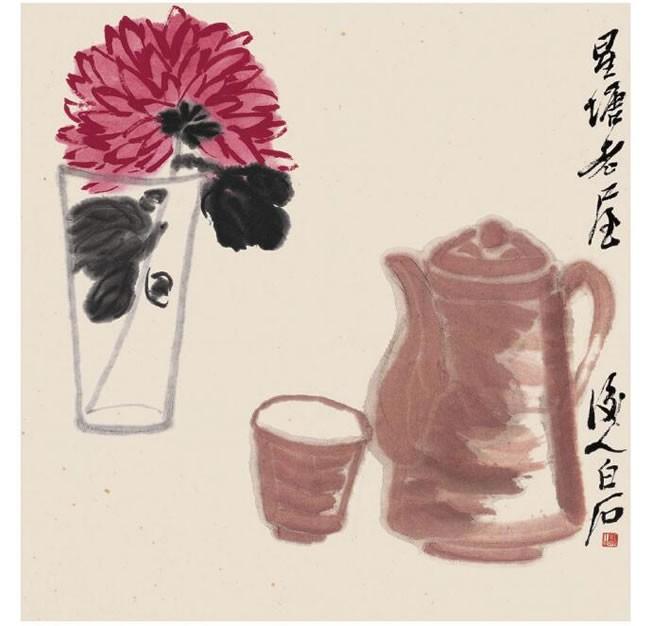 齐白石《茶壶瓶菊》纸本设色画高清大图
