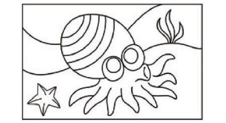 章鱼简笔画涂色步骤图示01