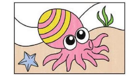 章鱼简笔画涂色步骤图示03