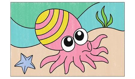 章鱼简笔画涂色步骤图示04
