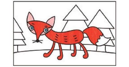 狐狸简笔画涂色步骤图示02