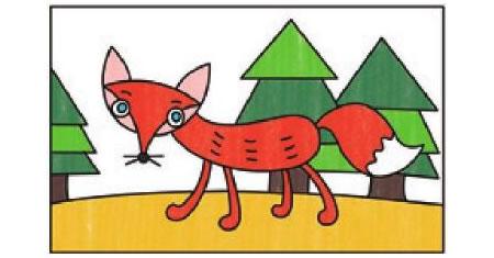狐狸简笔画涂色步骤图示03