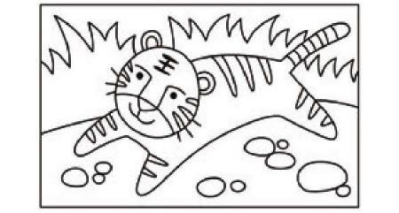 老虎简笔画涂色步骤图示01