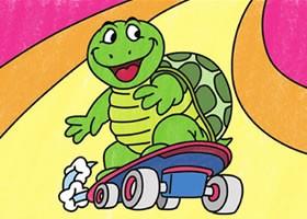 乌龟简笔画涂色